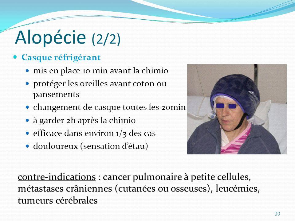 Alopécie (2/2) 30 Casque réfrigérant mis en place 10 min avant la chimio protéger les oreilles avant coton ou pansements changement de casque toutes les 20min à garder 2h après la chimio efficace dans environ 1/3 des cas douloureux (sensation détau) contre-indications : cancer pulmonaire à petite cellules, métastases crâniennes (cutanées ou osseuses), leucémies, tumeurs cérébrales