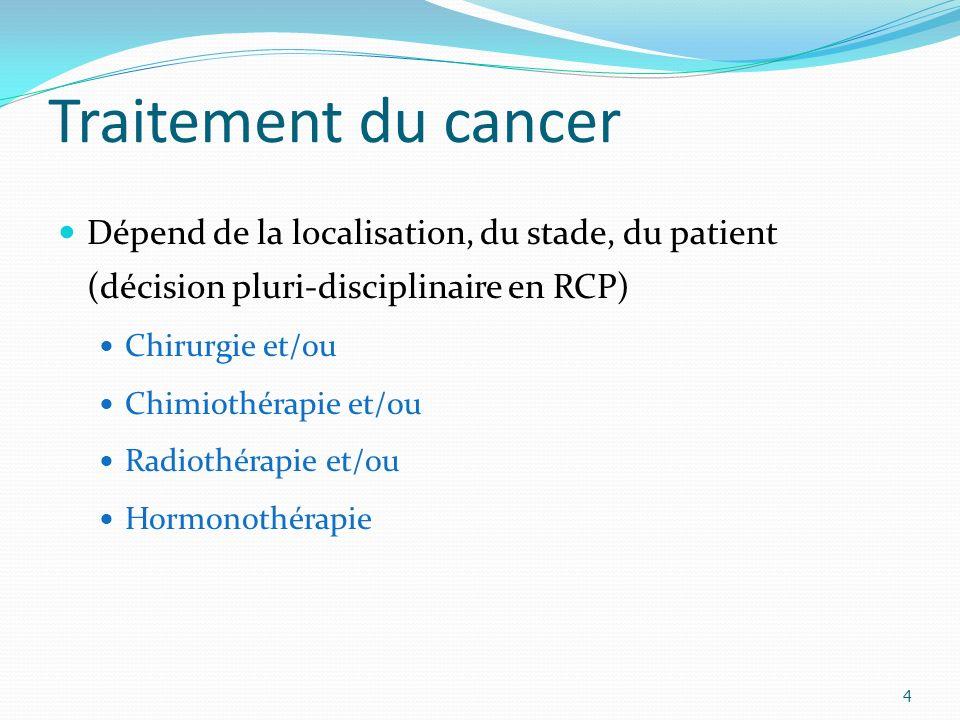 Traitement du cancer 4 Dépend de la localisation, du stade, du patient (décision pluri-disciplinaire en RCP) Chirurgie et/ou Chimiothérapie et/ou Radiothérapie et/ou Hormonothérapie