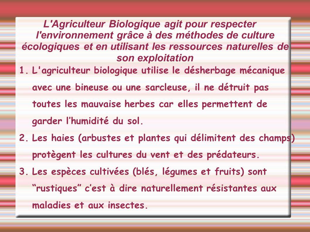 L'Agriculteur Biologique agit pour respecter l'environnement grâce à des méthodes de culture écologiques et en utilisant les ressources naturelles de