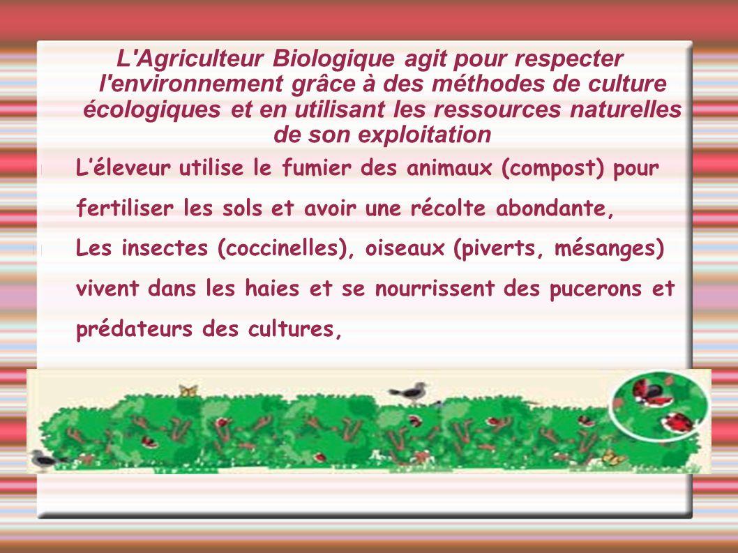 L Agriculteur Biologique agit pour respecter l environnement grâce à des méthodes de culture écologiques et en utilisant les ressources naturelles de son exploitation 1.