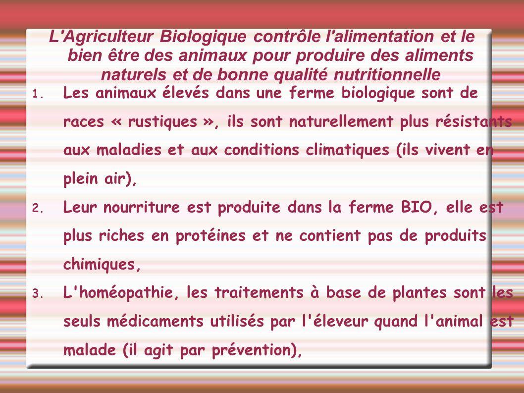 L Agriculteur Biologique contrôle l alimentation et le bien être des animaux pour produire des aliments naturels et de bonne qualité nutritionnelle 1.Les producteurs doivent respecter un cahier des charges (règlement) qui défini les procédures a suivre (pas de produits chimiques, rotation des cultures etc) il est contrôlé régulièrement par des inspecteurs qui lui donnent le logo AB, 2.Ces aliments sont transformés dans des entreprises « AB » qui agiront pour que les produits BIO soient les seuls utilisés dans la préparation d un aliment (le biscuit « AB » contient de la farine, du sucre, du beurre, des oeufs « AB »).