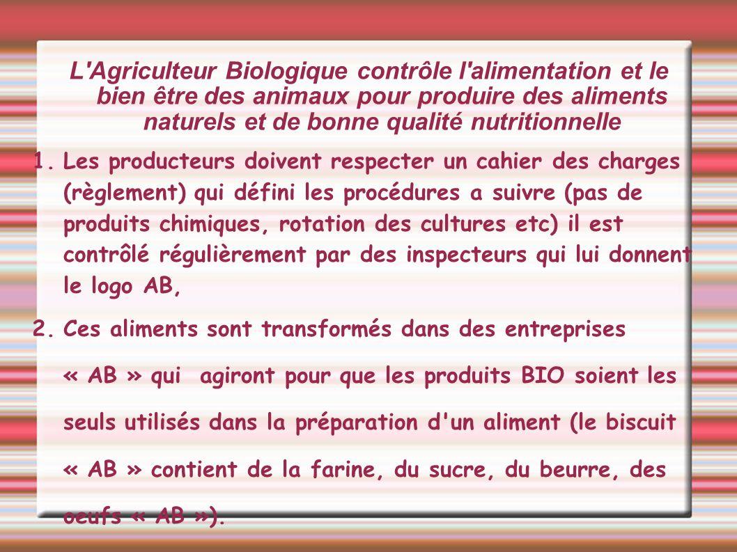 L'Agriculteur Biologique contrôle l'alimentation et le bien être des animaux pour produire des aliments naturels et de bonne qualité nutritionnelle 1.