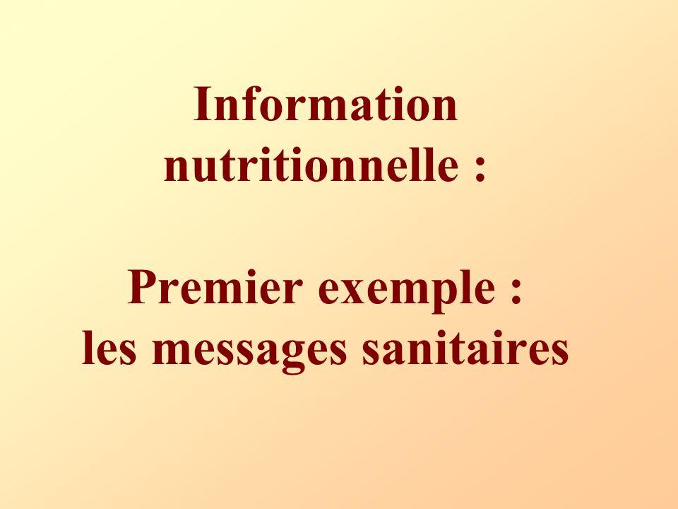 Information nutritionnelle : Premier exemple : les messages sanitaires