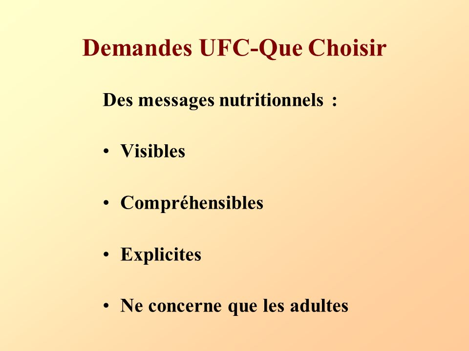 Demandes UFC-Que Choisir Des messages nutritionnels : Visibles Compréhensibles Explicites Ne concerne que les adultes