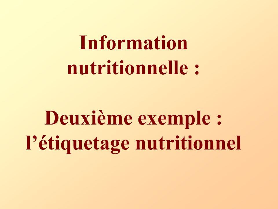 Information nutritionnelle : Deuxième exemple : létiquetage nutritionnel