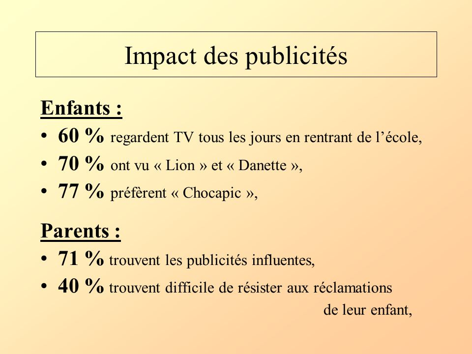 Impact des publicités Enfants : 60 % regardent TV tous les jours en rentrant de lécole, 70 % ont vu « Lion » et « Danette », 77 % préfèrent « Chocapic