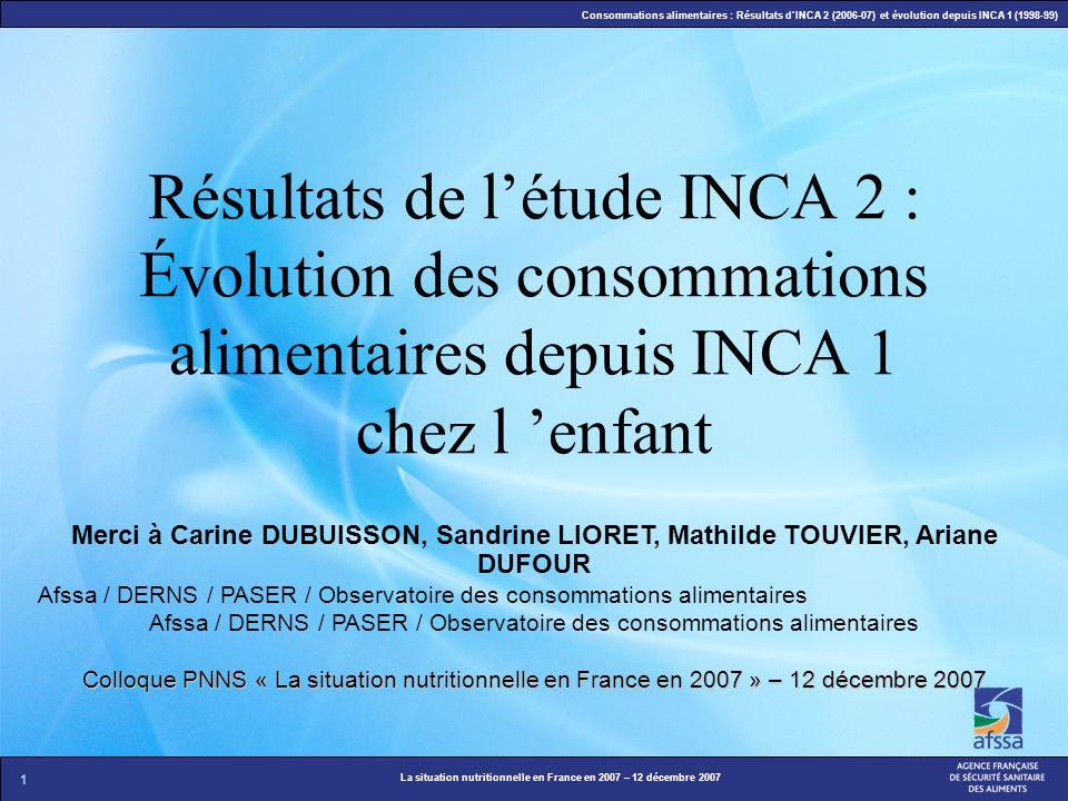 1 La situation nutritionnelle en France en 2007 – 12 décembre 2007 Consommations alimentaires : Résultats dINCA 2 (2006-07) et évolution depuis INCA 1
