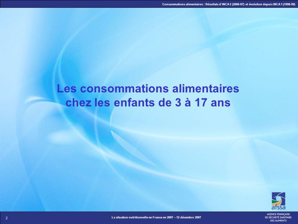 2 La situation nutritionnelle en France en 2007 – 12 décembre 2007 Consommations alimentaires : Résultats dINCA 2 (2006-07) et évolution depuis INCA 1