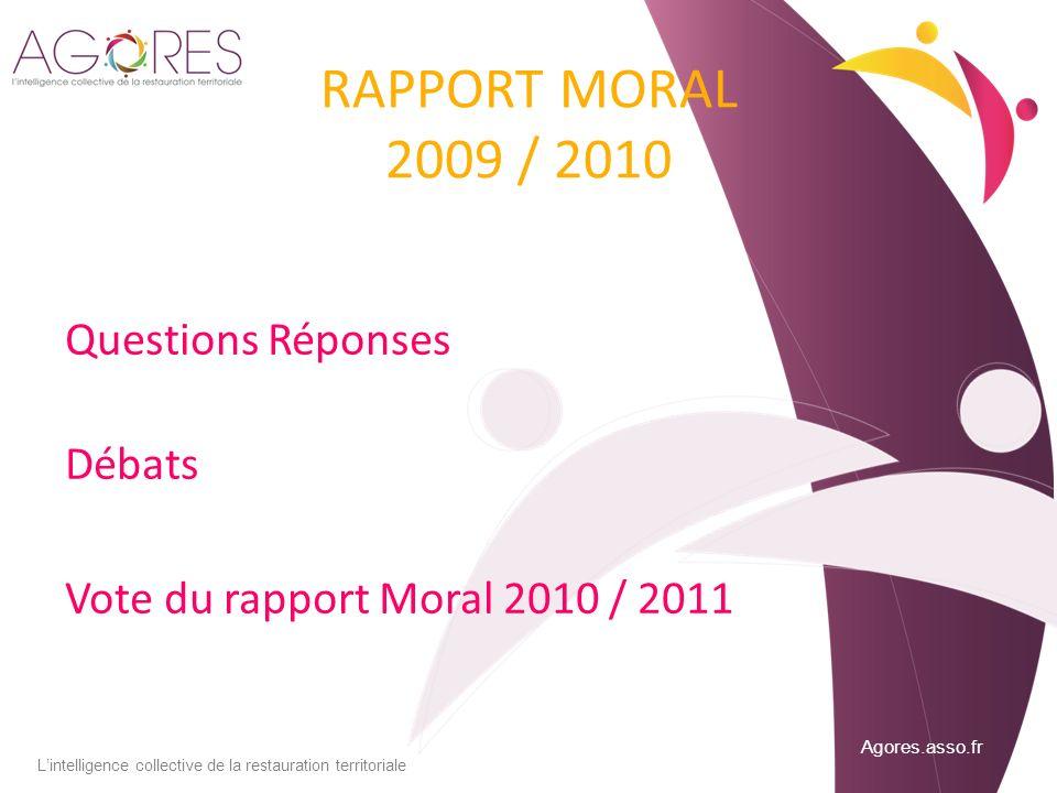 Agores.asso.fr Lintelligence collective de la restauration territoriale RAPPORT MORAL 2009 / 2010 Questions Réponses Débats Vote du rapport Moral 2010