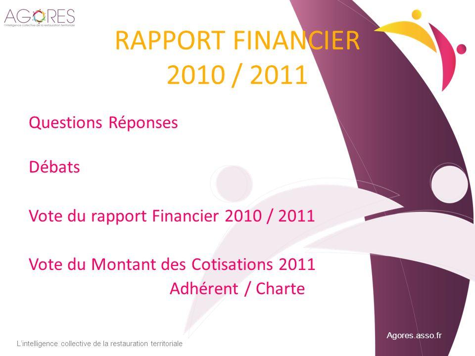 Agores.asso.fr Lintelligence collective de la restauration territoriale RAPPORT FINANCIER 2010 / 2011 Questions Réponses Débats Vote du rapport Financ