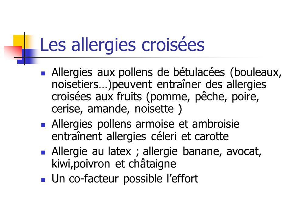 Les allergies croisées Allergies aux pollens de bétulacées (bouleaux, noisetiers…)peuvent entraîner des allergies croisées aux fruits (pomme, pêche, p