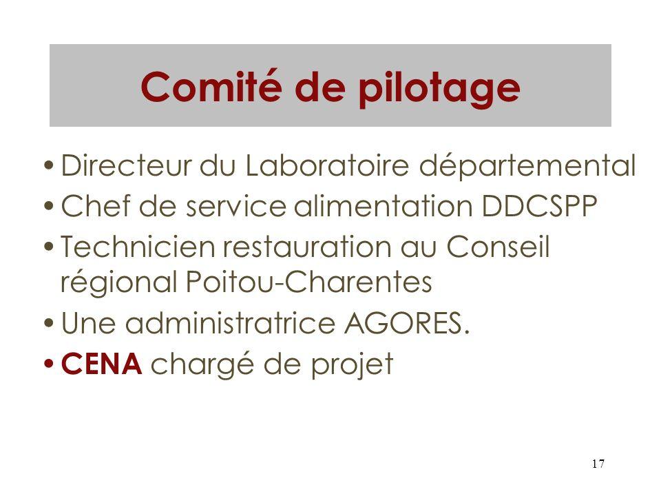 17 Comité de pilotage Directeur du Laboratoire départemental Chef de service alimentation DDCSPP Technicien restauration au Conseil régional Poitou-Ch