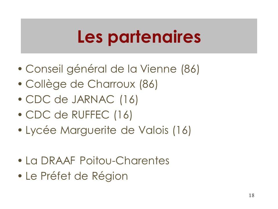 18 Les partenaires Conseil général de la Vienne (86) Collège de Charroux (86) CDC de JARNAC (16) CDC de RUFFEC (16) Lycée Marguerite de Valois (16) La