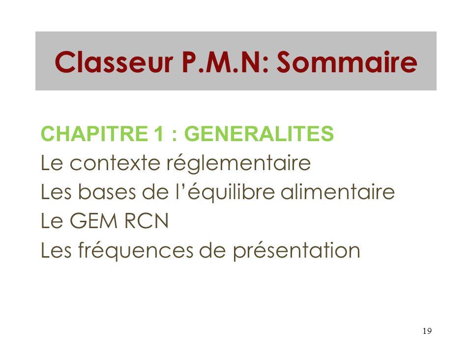19 Classeur P.M.N: Sommaire CHAPITRE 1 : GENERALITES Le contexte réglementaire Les bases de léquilibre alimentaire Le GEM RCN Les fréquences de présen