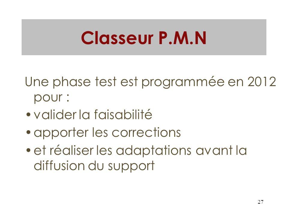 27 Classeur P.M.N Une phase test est programmée en 2012 pour : valider la faisabilité apporter les corrections et réaliser les adaptations avant la di