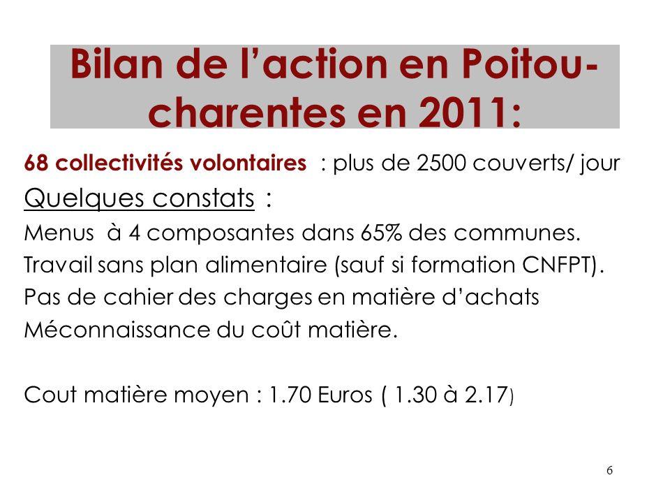 6 Bilan de laction en Poitou- charentes en 2011: 68 collectivités volontaires : plus de 2500 couverts/ jour Quelques constats : Menus à 4 composantes