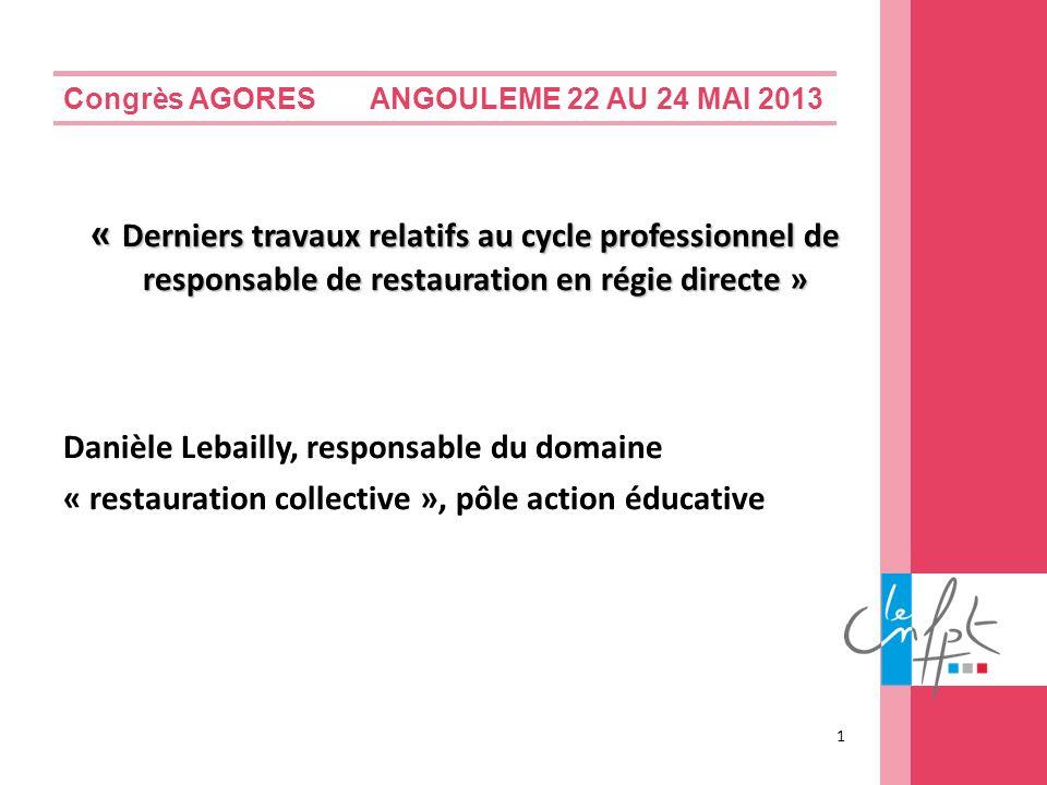 Congrès AGORES ANGOULEME 22 AU 24 MAI 2013 « Derniers travaux relatifs au cycle professionnel de responsable de restauration en régie directe » Danièl