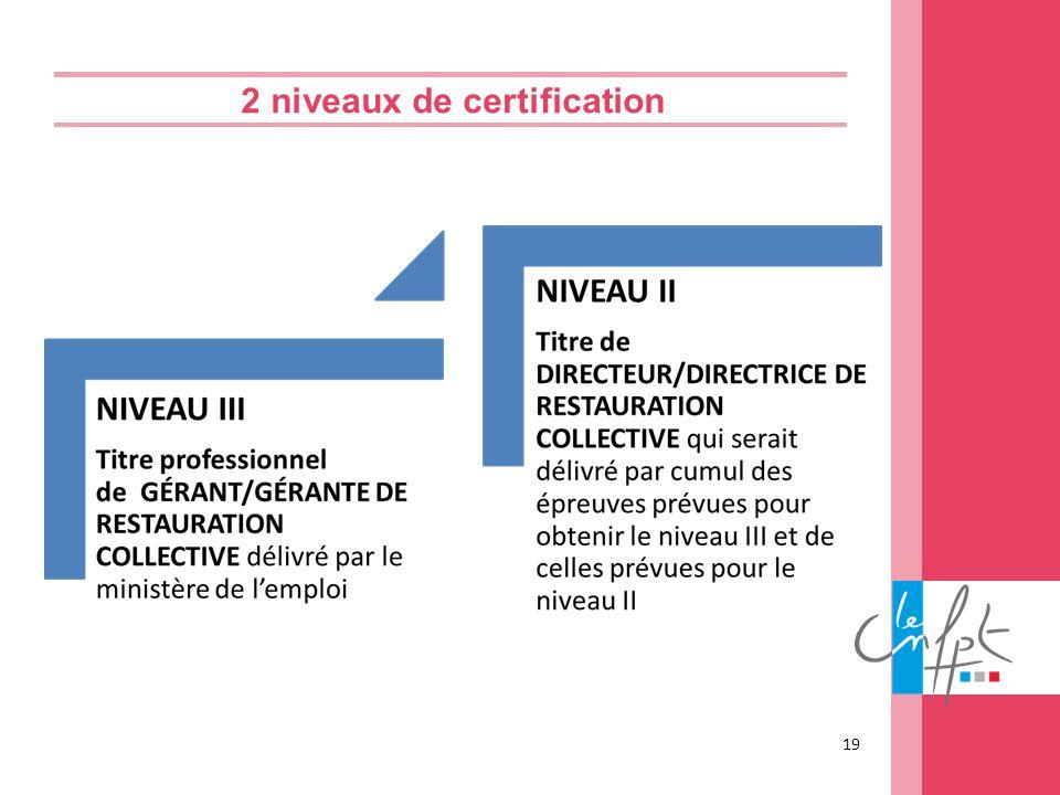 2 niveaux de certification 19