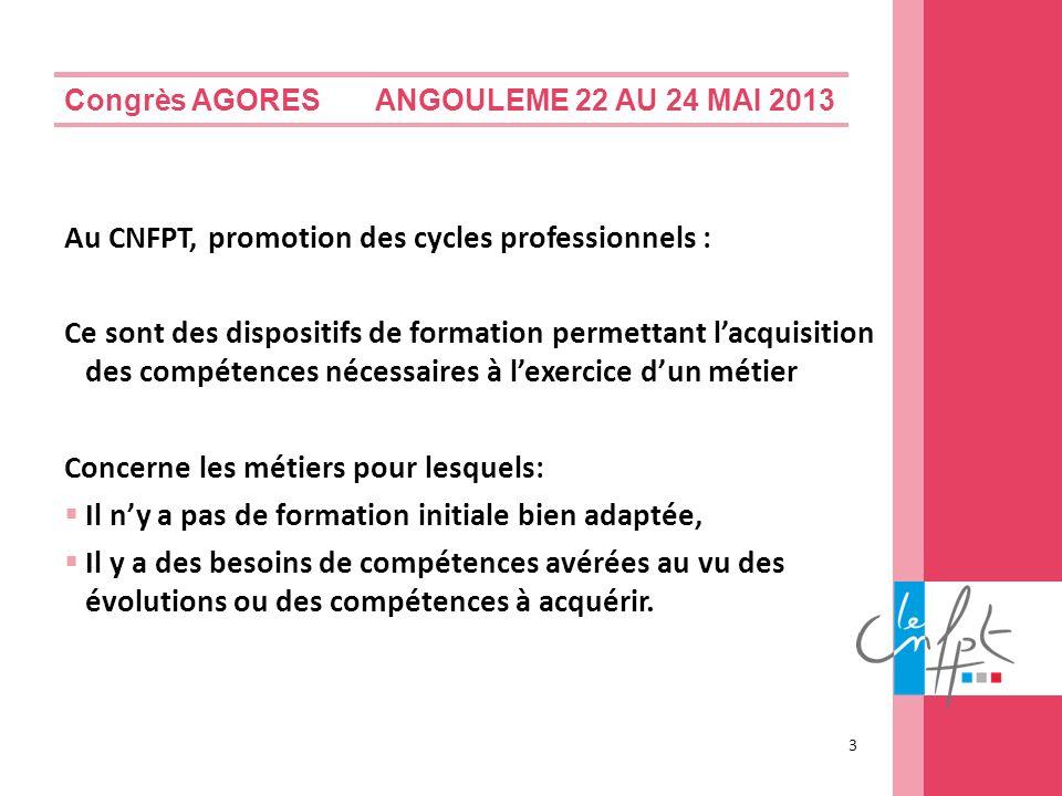 Congrès AGORES ANGOULEME 22 AU 24 MAI 2013 Au CNFPT, promotion des cycles professionnels : Ce sont des dispositifs de formation permettant lacquisitio