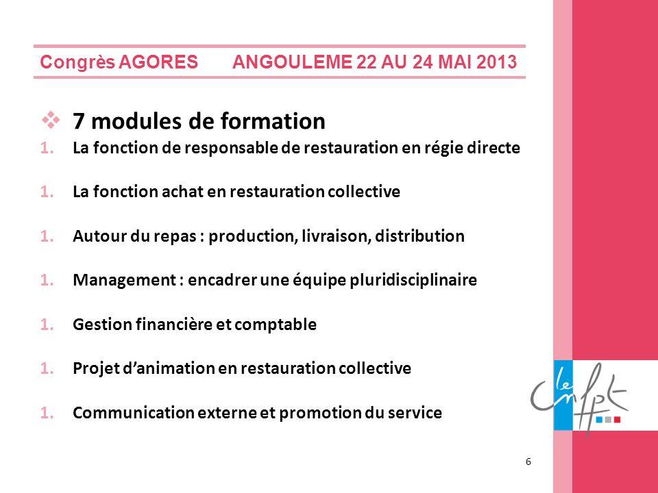Congrès AGORES ANGOULEME 22 AU 24 MAI 2013 7 modules de formation 1.La fonction de responsable de restauration en régie directe 1.La fonction achat en