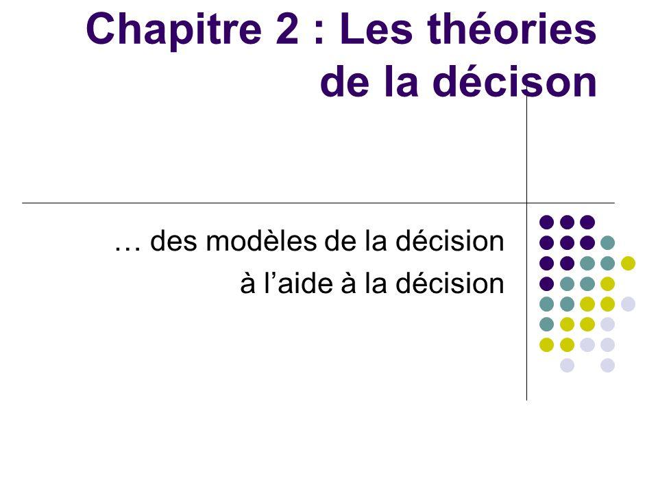 Chapitre 2 : Les théories de la décison … des modèles de la décision à laide à la décision