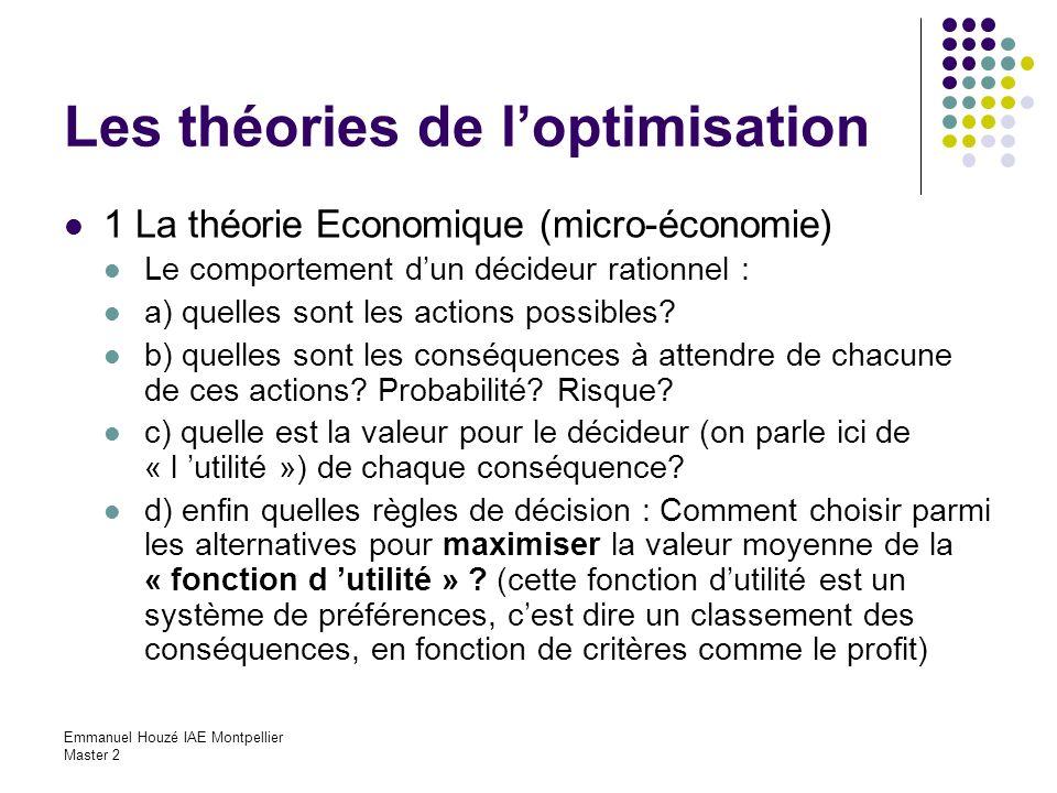 Emmanuel Houzé IAE Montpellier Master 2 Les théories de loptimisation 1 La théorie Economique (micro-économie) Le comportement dun décideur rationnel