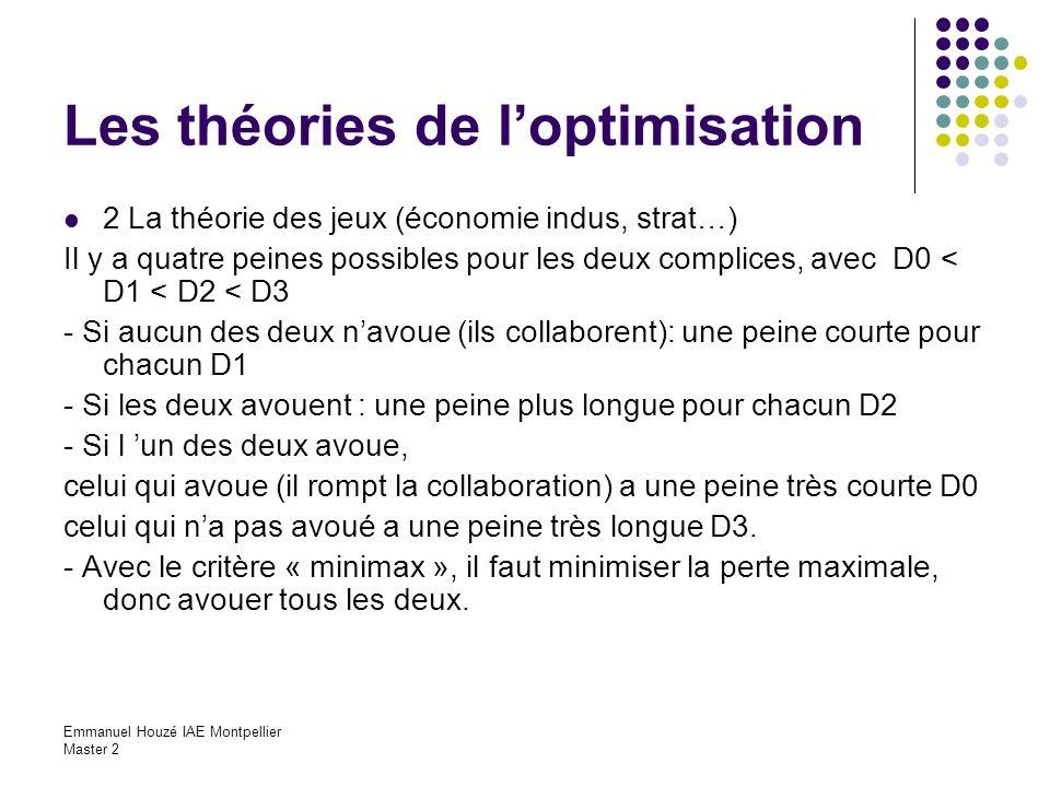 Emmanuel Houzé IAE Montpellier Master 2 Les théories de loptimisation 2 La théorie des jeux (économie indus, strat…) Il y a quatre peines possibles po