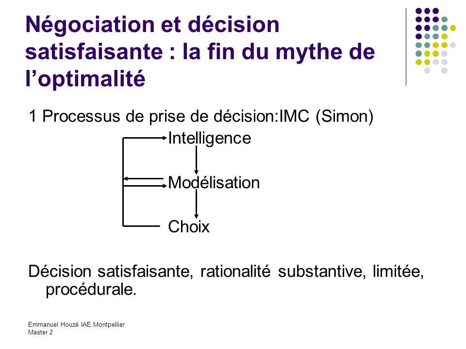 Emmanuel Houzé IAE Montpellier Master 2 Négociation et décision satisfaisante : la fin du mythe de loptimalité 1 Processus de prise de décision:IMC (S