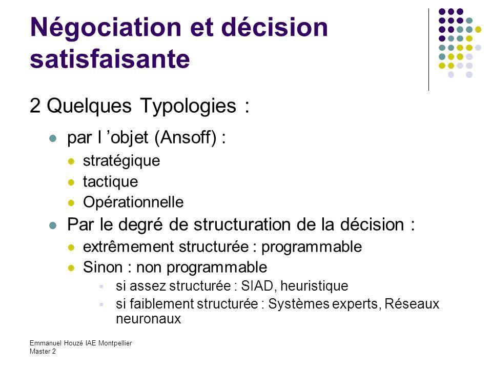 Emmanuel Houzé IAE Montpellier Master 2 Négociation et décision satisfaisante 2 Quelques Typologies : par l objet (Ansoff) : stratégique tactique Opér