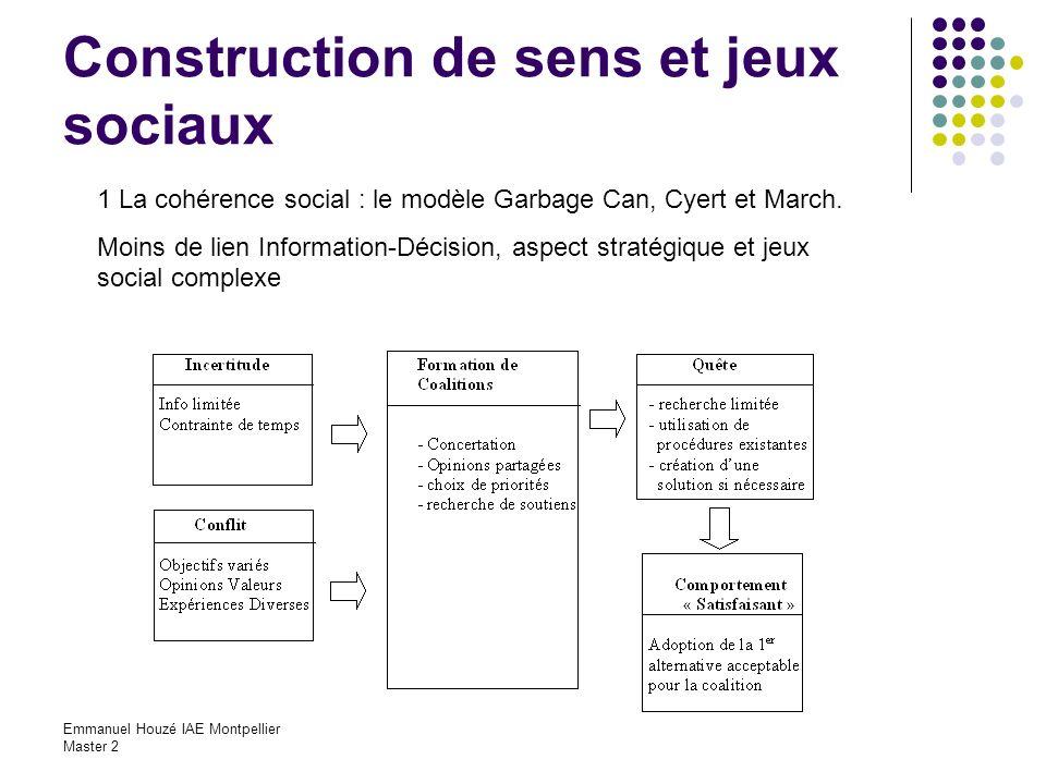 Emmanuel Houzé IAE Montpellier Master 2 Construction de sens et jeux sociaux 1 La cohérence social : le modèle Garbage Can, Cyert et March. Moins de l