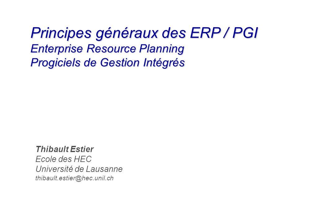 Principes généraux des ERP / PGI Enterprise Resource Planning Progiciels de Gestion Intégrés Thibault Estier Ecole des HEC Université de Lausanne thib
