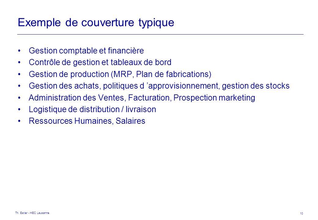 Th. Estier - HEC Lausanne 10 Exemple de couverture typique Gestion comptable et financière Contrôle de gestion et tableaux de bord Gestion de producti