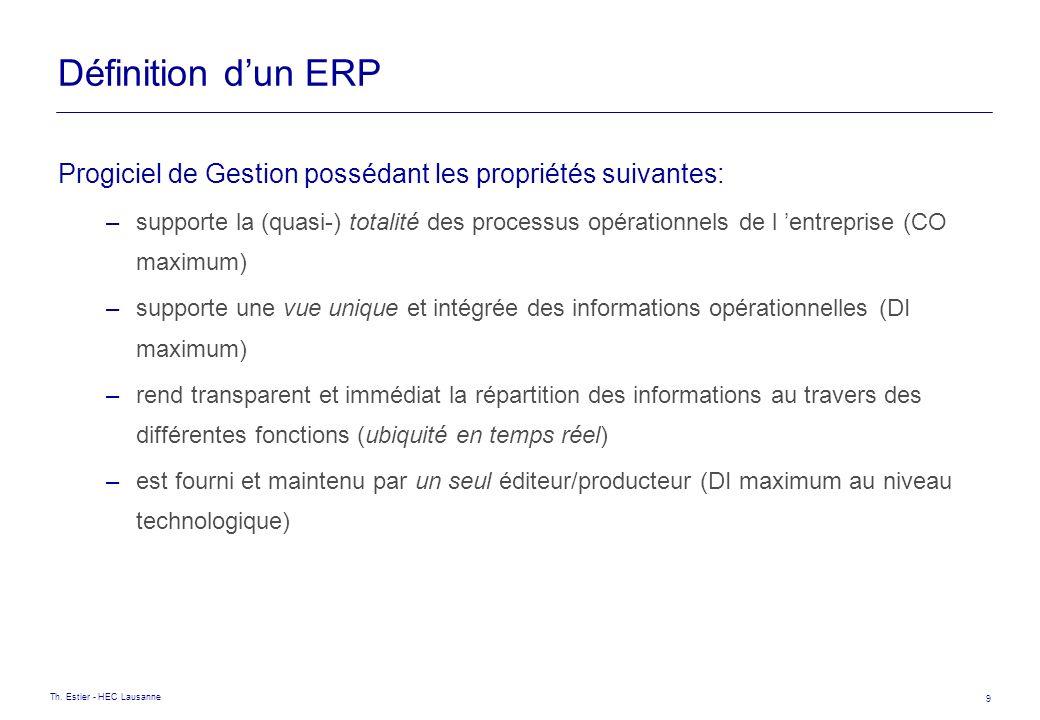 Th. Estier - HEC Lausanne 9 Définition dun ERP Progiciel de Gestion possédant les propriétés suivantes: –supporte la (quasi-) totalité des processus o