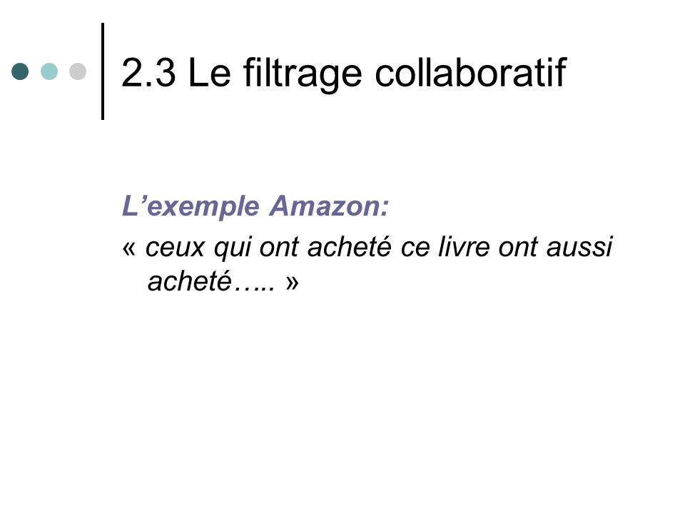 2.3 Le filtrage collaboratif Lexemple Amazon: « ceux qui ont acheté ce livre ont aussi acheté….. »