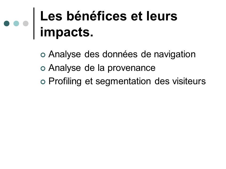 Les bénéfices et leurs impacts. Analyse des données de navigation Analyse de la provenance Profiling et segmentation des visiteurs