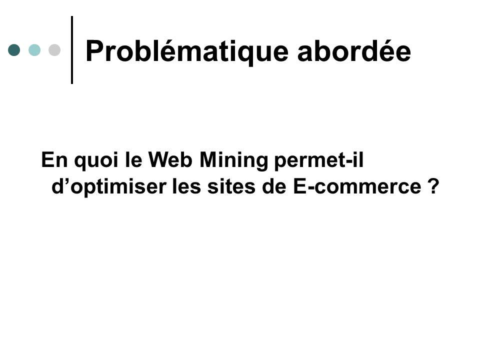 Problématique abordée En quoi le Web Mining permet-il doptimiser les sites de E-commerce ?