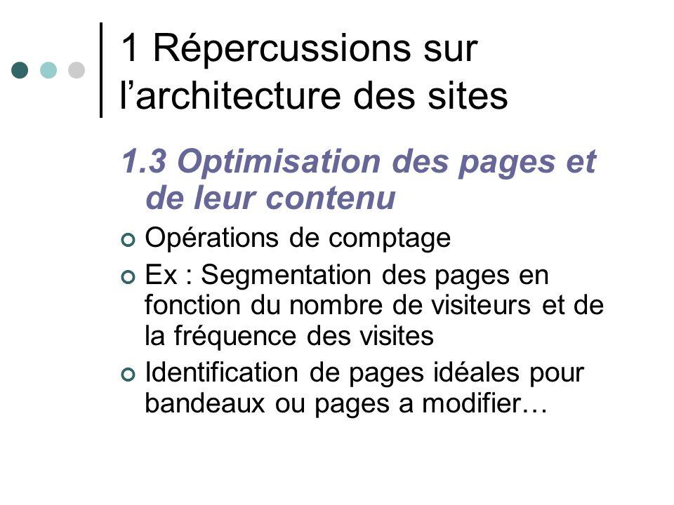 1 Répercussions sur larchitecture des sites 1.3 Optimisation des pages et de leur contenu Opérations de comptage Ex : Segmentation des pages en foncti