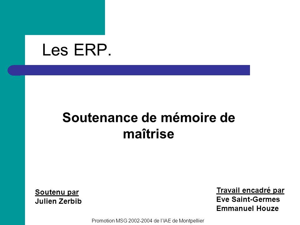 Les ERP. Soutenance de mémoire de maîtrise Soutenu par Julien Zerbib Promotion MSG 2002-2004 de lIAE de Montpellier Travail encadré par Eve Saint-Germ
