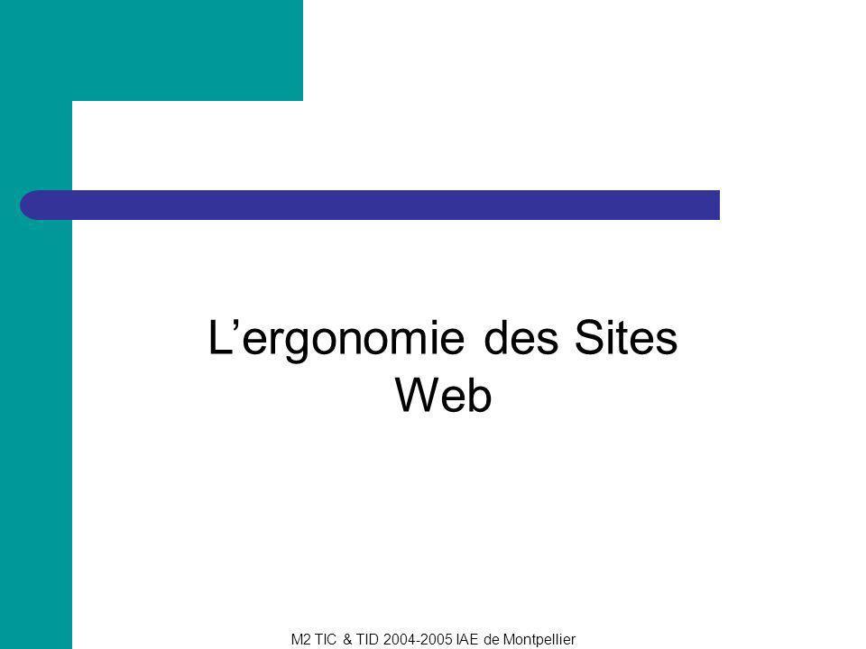 M2 TIC & TID 2004-2005 IAE de Montpellier Ergonomie et structuration des sites Le site : structuration de linformation Les pages : optimisation visuelle, reflet de la structure du site