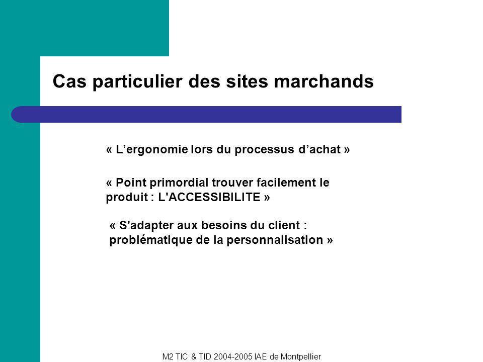 M2 TIC & TID 2004-2005 IAE de Montpellier Cas particulier des sites marchands « Lergonomie lors du processus dachat » « Point primordial trouver facil