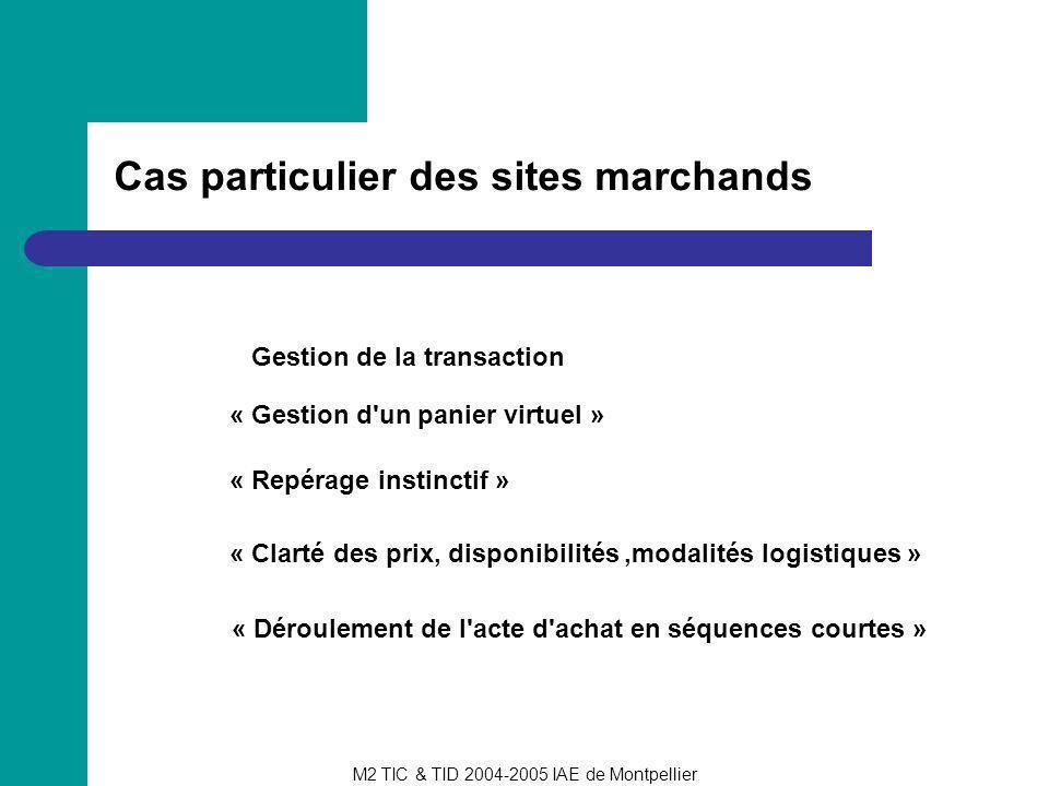 M2 TIC & TID 2004-2005 IAE de Montpellier Cas particulier des sites marchands Gestion de la transaction « Repérage instinctif » « Déroulement de l'act
