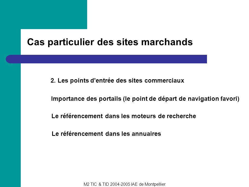 M2 TIC & TID 2004-2005 IAE de Montpellier Cas particulier des sites marchands 2. Les points d'entrée des sites commerciaux Importance des portails (le