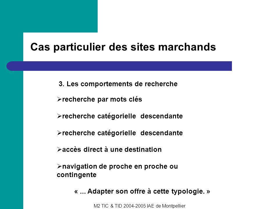 M2 TIC & TID 2004-2005 IAE de Montpellier Cas particulier des sites marchands 3. Les comportements de recherche recherche par mots clés recherche caté