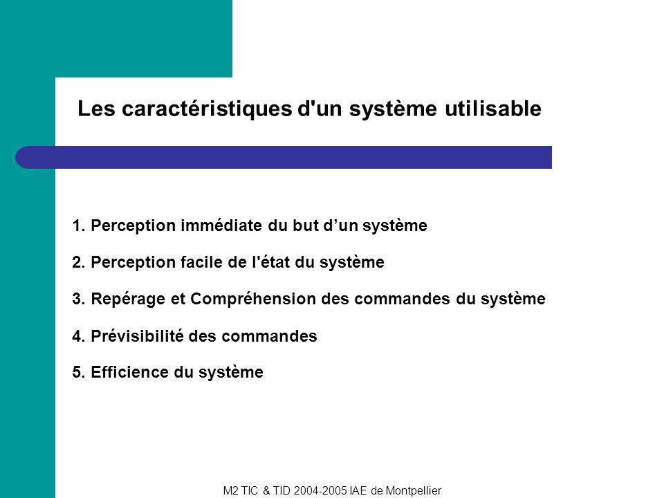 M2 TIC & TID 2004-2005 IAE de Montpellier Les caractéristiques d'un système utilisable 2. Perception facile de l'état du système 3. Repérage et Compré