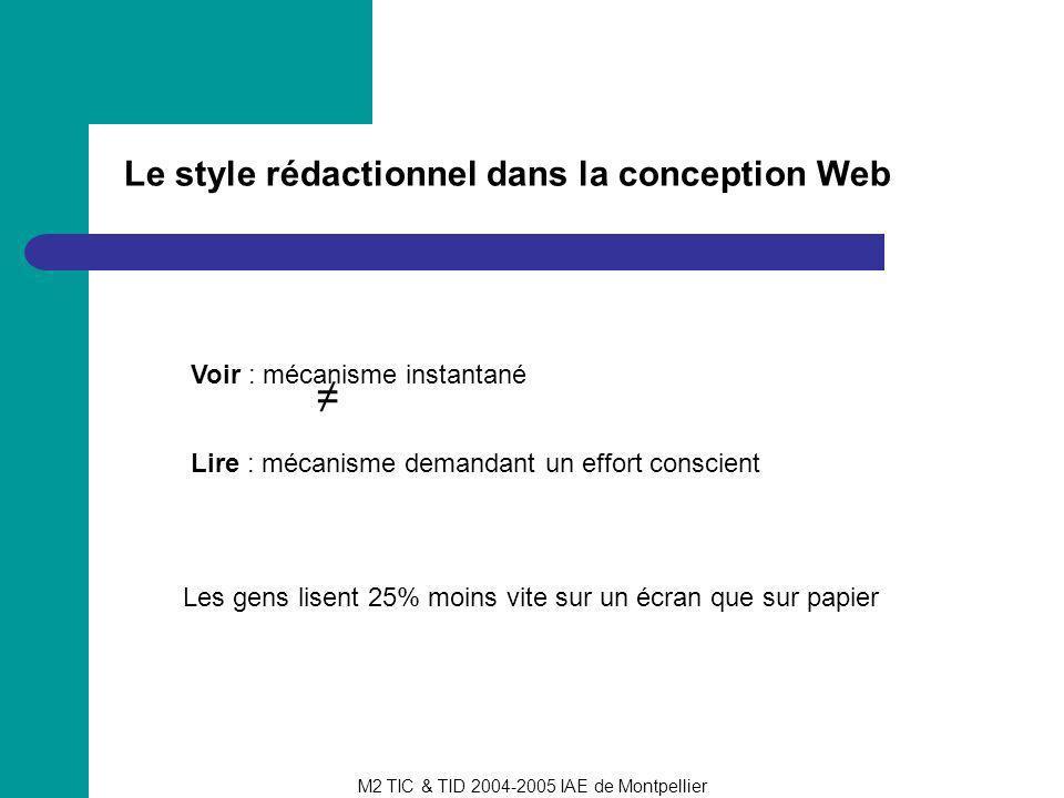 M2 TIC & TID 2004-2005 IAE de Montpellier Le style rédactionnel dans la conception Web Voir : mécanisme instantané Lire : mécanisme demandant un effor