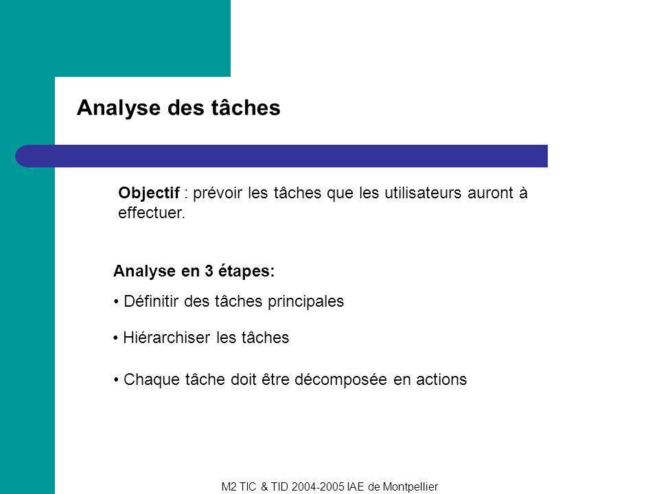 M2 TIC & TID 2004-2005 IAE de Montpellier Analyse des tâches Objectif : prévoir les tâches que les utilisateurs auront à effectuer. Analyse en 3 étape