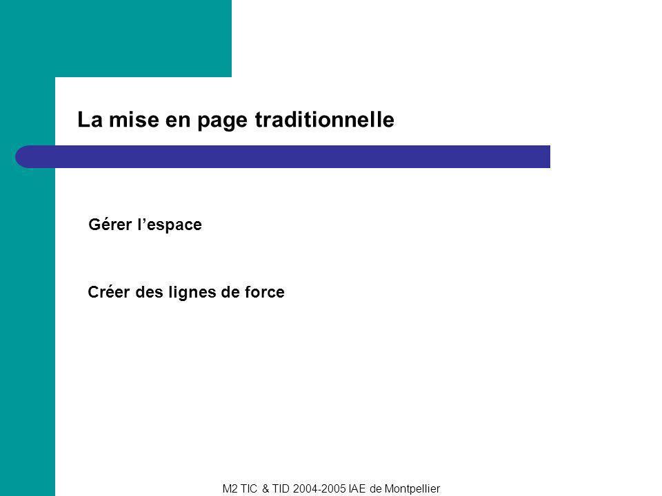 M2 TIC & TID 2004-2005 IAE de Montpellier La mise en page traditionnelle Gérer lespace Créer des lignes de force