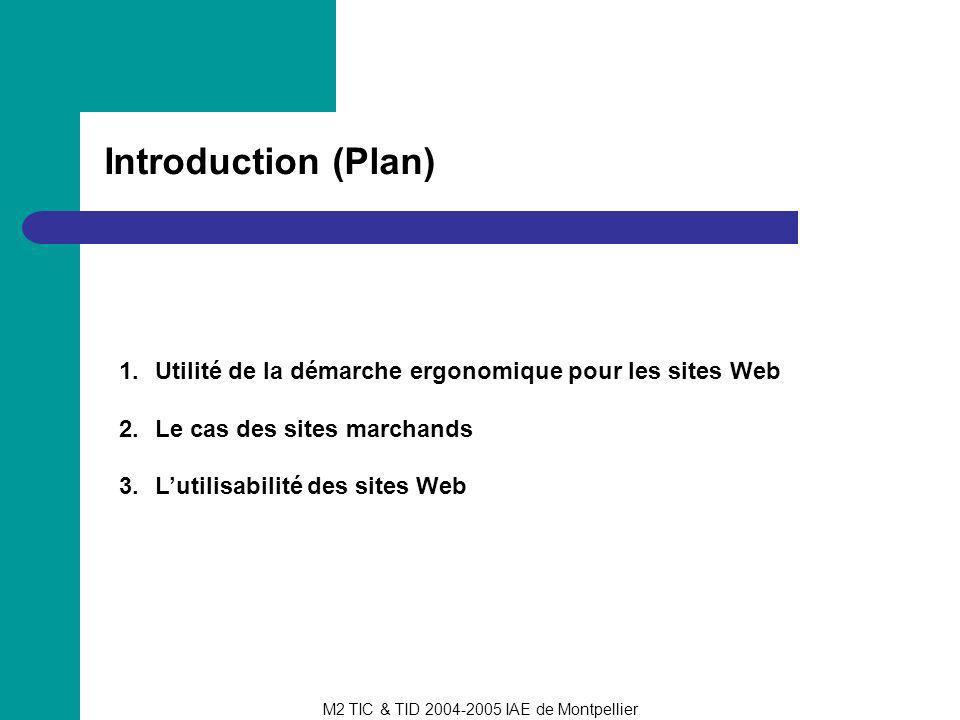 M2 TIC & TID 2004-2005 IAE de Montpellier Introduction (Plan) 1.Utilité de la démarche ergonomique pour les sites Web 2.Le cas des sites marchands 3.L