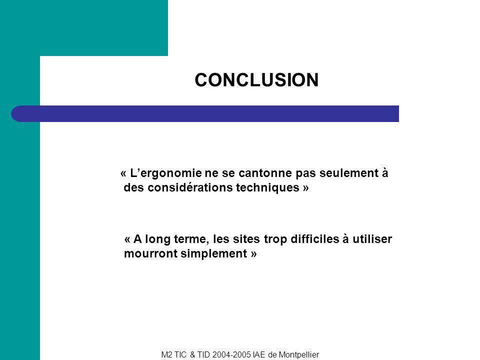 M2 TIC & TID 2004-2005 IAE de Montpellier CONCLUSION « Lergonomie ne se cantonne pas seulement à des considérations techniques » « A long terme, les s