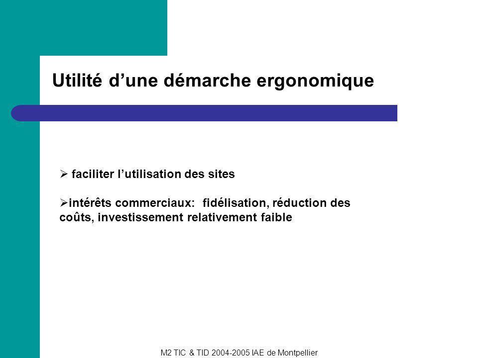 M2 TIC & TID 2004-2005 IAE de Montpellier Utilité dune démarche ergonomique faciliter lutilisation des sites intérêts commerciaux: fidélisation, réduc